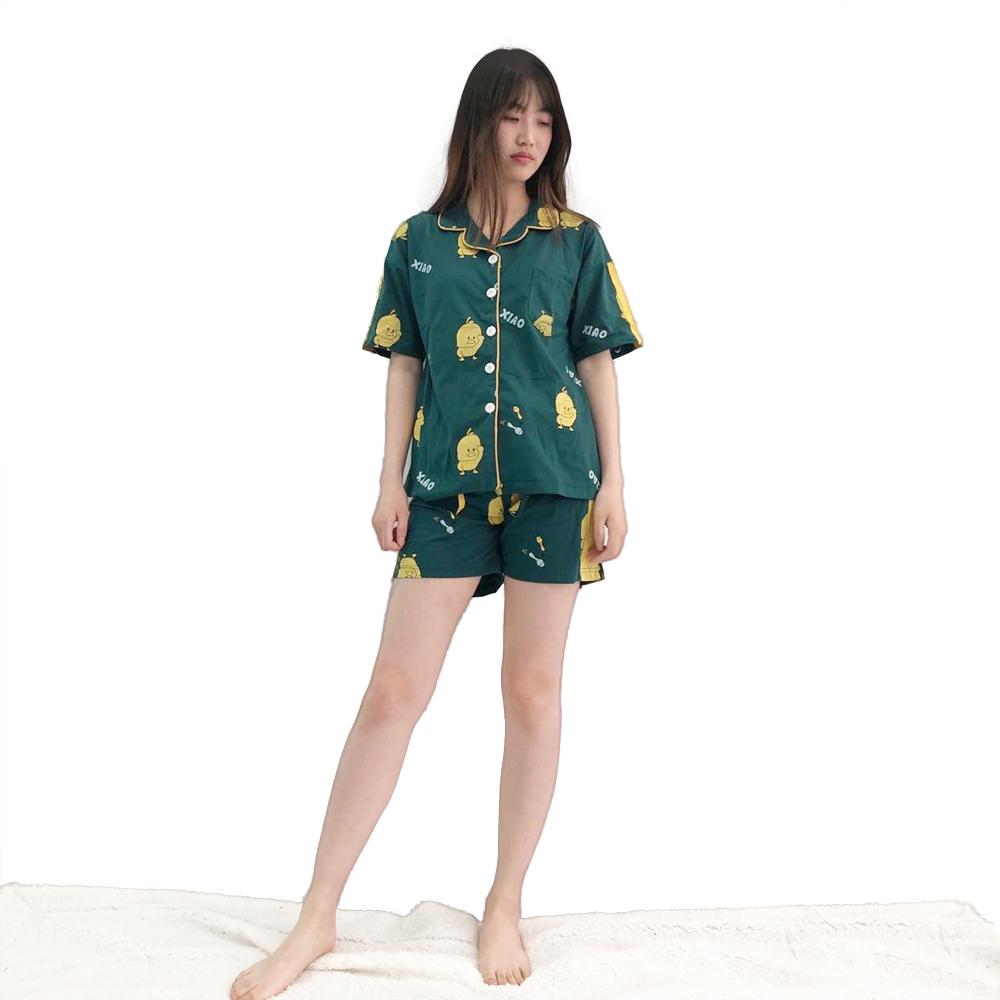 67ac8689e1865 Gros femme pyjama d'été à manches courtes short mince cardigan revers  maison usure coton