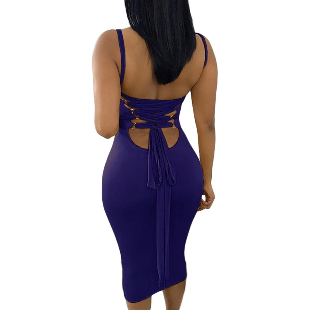 Low cut fetching blue lace up back dresses women sexy party bodycon dress plus size dress фото
