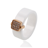 13907 Xuping Jewelry delicate ceramic ring with shining zircon inlayed in gold plated square design
