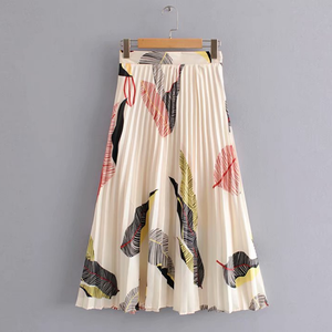 Summer Leaf Printed Long Maxi Pleated Skirts for Ladies