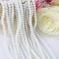 Factory faceted loose rondelle crystal beads opeck white glass stone beads
