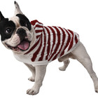 Pet Dog Hoodie, Pet Dog Cat Red and White Stripes Knitted Jumper Winter Warm Sweater Hoodie Costume Clothes