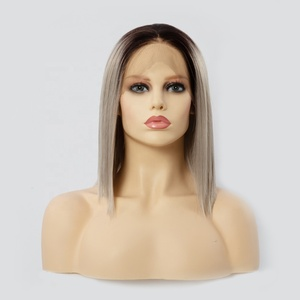Cheap ombre synthetic lace frontal wig heat resistant fiber for white women