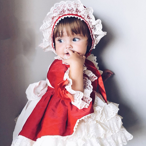Lovely Lace Ruffles Flower Floral Frinted Baby Casual Wear Kids Clothing Set Children Wedding Apparel Accessories Girl Dresses