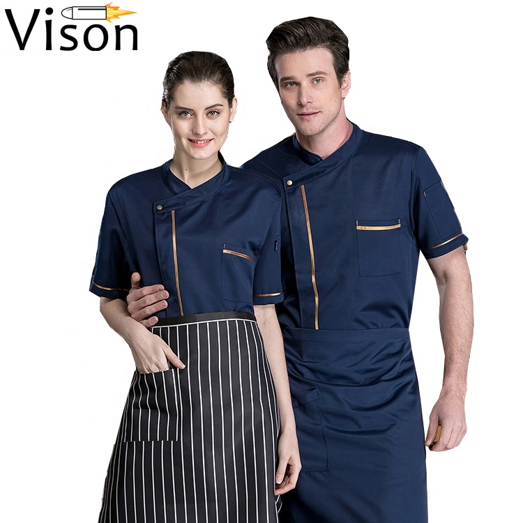 Hoge Kwaliteit Restaurant Hotel chef shirt goud omrande chef kleding Checker chef uniformen