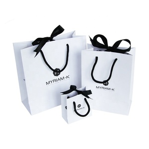 Wholesale Luxury Gift Custom Printing White Packaging Small Paper Small Shopping Bags With Logos