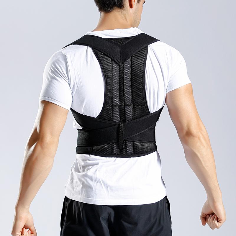 Waist Trainer Back Posture Corrector Shoulder Lumbar Brace Spine Support Belt Adjustable Adult Corset Posture Correction Belt, Black