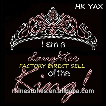0614N Princess Crown iron on Design Rhinestone Motif Hot Fix Rhinestone Transfer Hotfix for Clothing