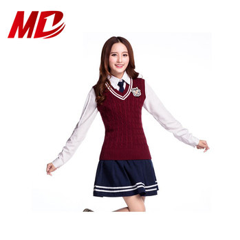 England style high School Uniform girls school outfits ,t-shirts and skirt