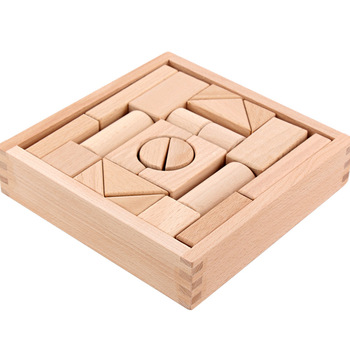 Wholesale Natural Beech Wood Building Blocks For Infants And Toddlers - Wooden Block Set Of 22 pieces