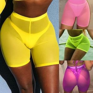 Neon Color Sexy Mesh Shorts Women Harajuku High Waist Sweatpants Biker Bodycon Street Fashion Shorts