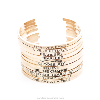 Stackable Engraved Bracelet Cuff Stainless Steel Bangle For Women & Girls