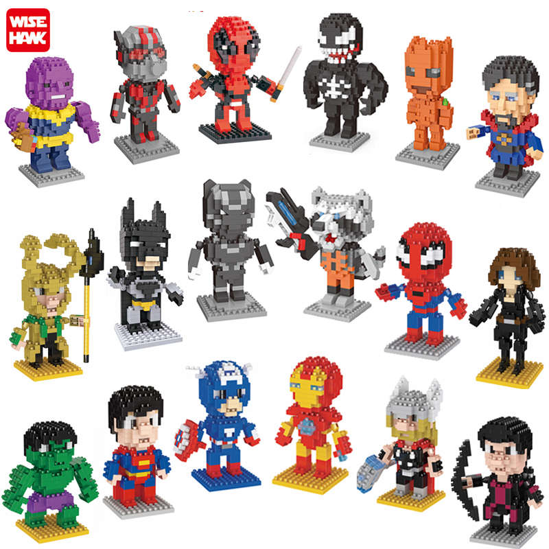 2019 vente chaude amazon jouets en plastique nanoblocs collection super héros marvel venger figurines