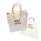 Custom LOGO Colour Printing White Kraft Paper Pasting Paper Ropes Clothes Packaging Bags Shopping Handbags