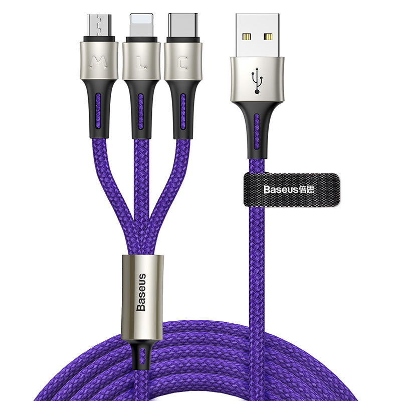 Baseus Caring Touch selection 3 in 1 Fast Data Charging USB Cable Length 1.2M 3.5A For Mobile phone фото