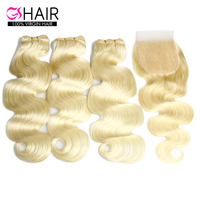Factory price 613 blonde body wave human hair bundles with closure cutocle aligned virgin hair with hd swiss thin lace closure