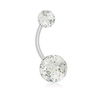 ACRYLIC 14G Stainless steel Extra glitter flashing belly ring