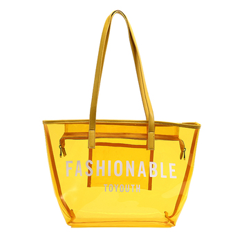 custom girl ladies plastic PVC see through hobo tote bag clear transparent shopping bag for women