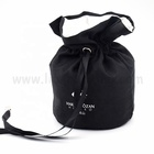 Customized Logo Printing Handmade Drawstring 100% Recycled black round bottom Cotton pouch with satin lined