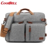 3 Way Canvas Leather Laptop Bag Office Business Convertible 15.6 Inch Laptop Bag
