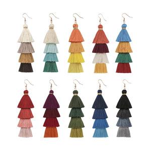 Handmade Layered Trendy Fashion Statement Vintage Silk Long Tassel Earrings Women Jewelry Bohemian Drop Earrings 2019