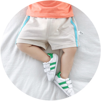 2019 Hot Baby Boy Girl Sports Short Pants Deep Blue Striped Printed Shorts Casual 1-3T