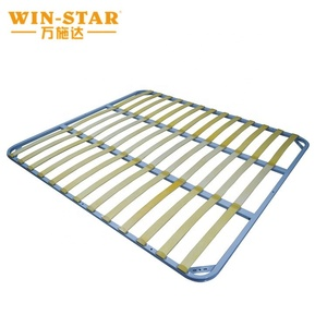 Queen size wooden slats metal bed frame from China