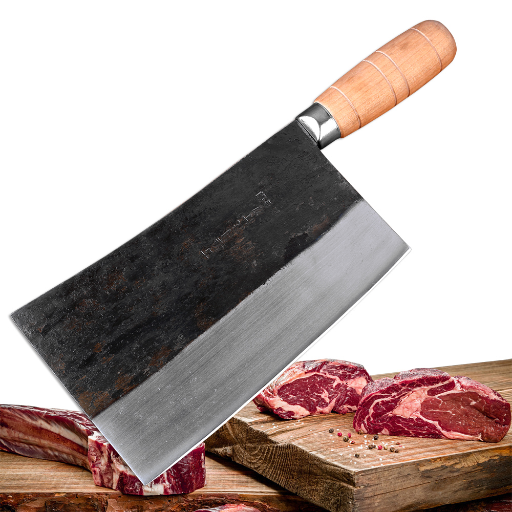 Professional big Asian Chinese meat cleaver Butcher slaughter knives High carbon steel Full Tang cleaver slice chef knife Hot CN фото