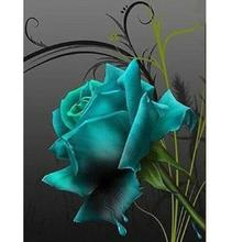 DIY 5D flores de Diamantes Bordados Cheios ícones praça Pintura Diamante Cross Stitch Kits blue rose pattern Diamante Mosaico imagem