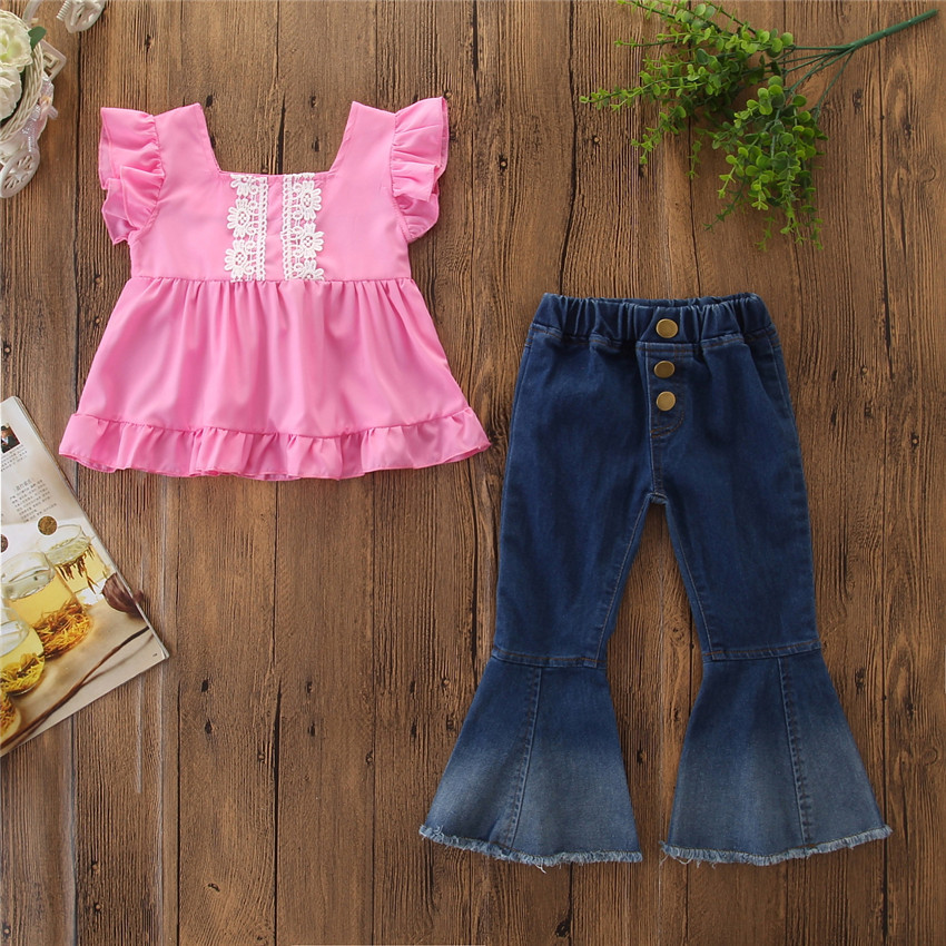 Well-Educated Fashion Cute Summer Cotton Lace Baby Kids Girl Tunic Tops Dress Ripped Denim Pants Jeans Outfits Clothes Moderate Price Girls' Clothing Mother & Kids