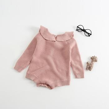2019 Winter doll collar organic baby knit sweater romper