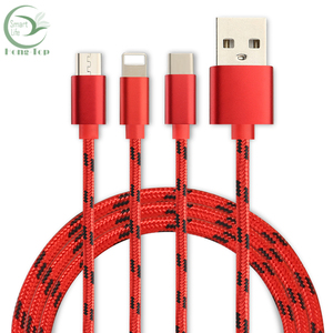 Nylon braided USB data cable changer for type-c mobile phone
