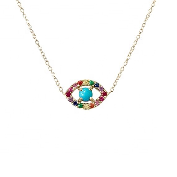 colorful rainbow cubic zirconia turquoise geomstone tiny evil eye necklace 925 <strong>silver</strong>