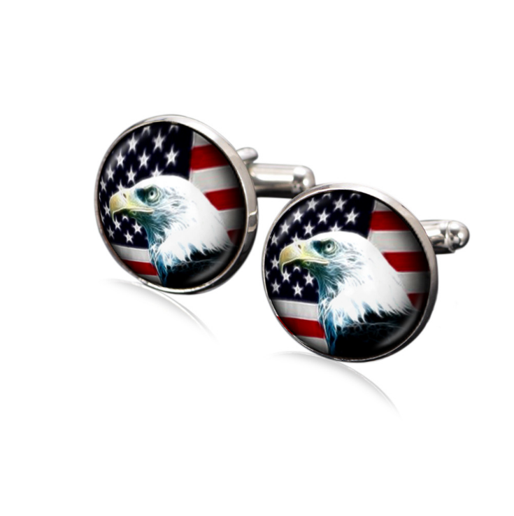 Custom logo American flag silver metal cufflinks for men фото