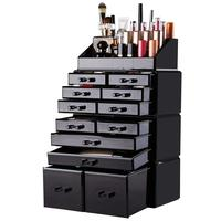Wholesale 4 Pieces Set Black Makeup Storage Display Boxes Case Acrylic Cosmetic Organizer Makeup with 12 Drawers