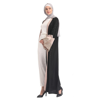 Stone 2019 Fashionable Eid Ramadan Black Fashion Baju Printed Islamic Clothing Muslim Wear For Women