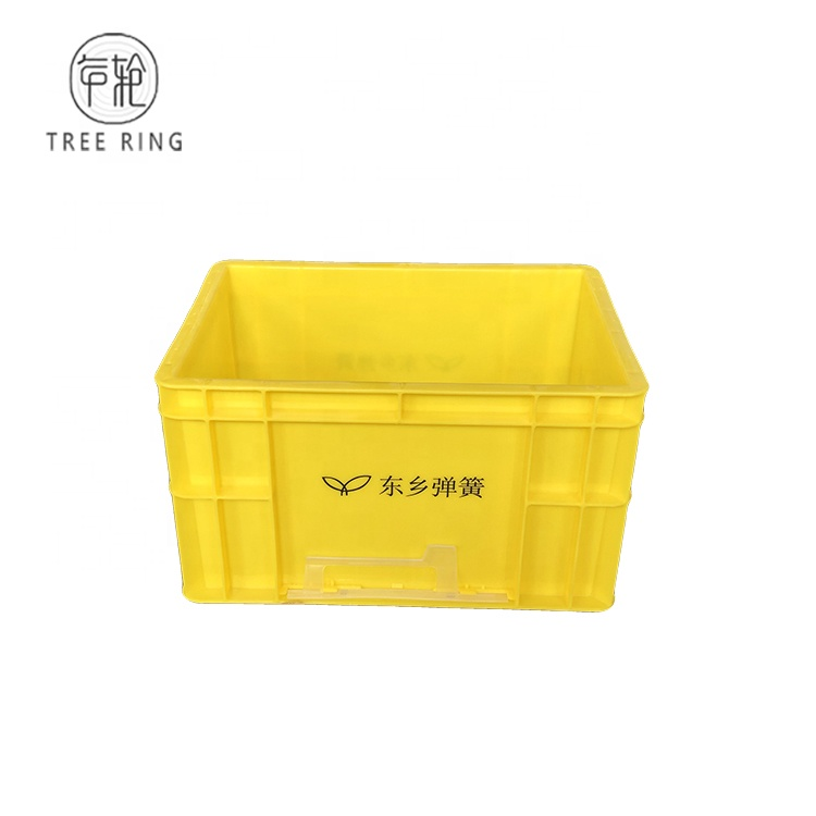 EU4322 Custom Virgin PP Yellow Color Straight-Wall Euro stacking container With print logo For warehouses operations