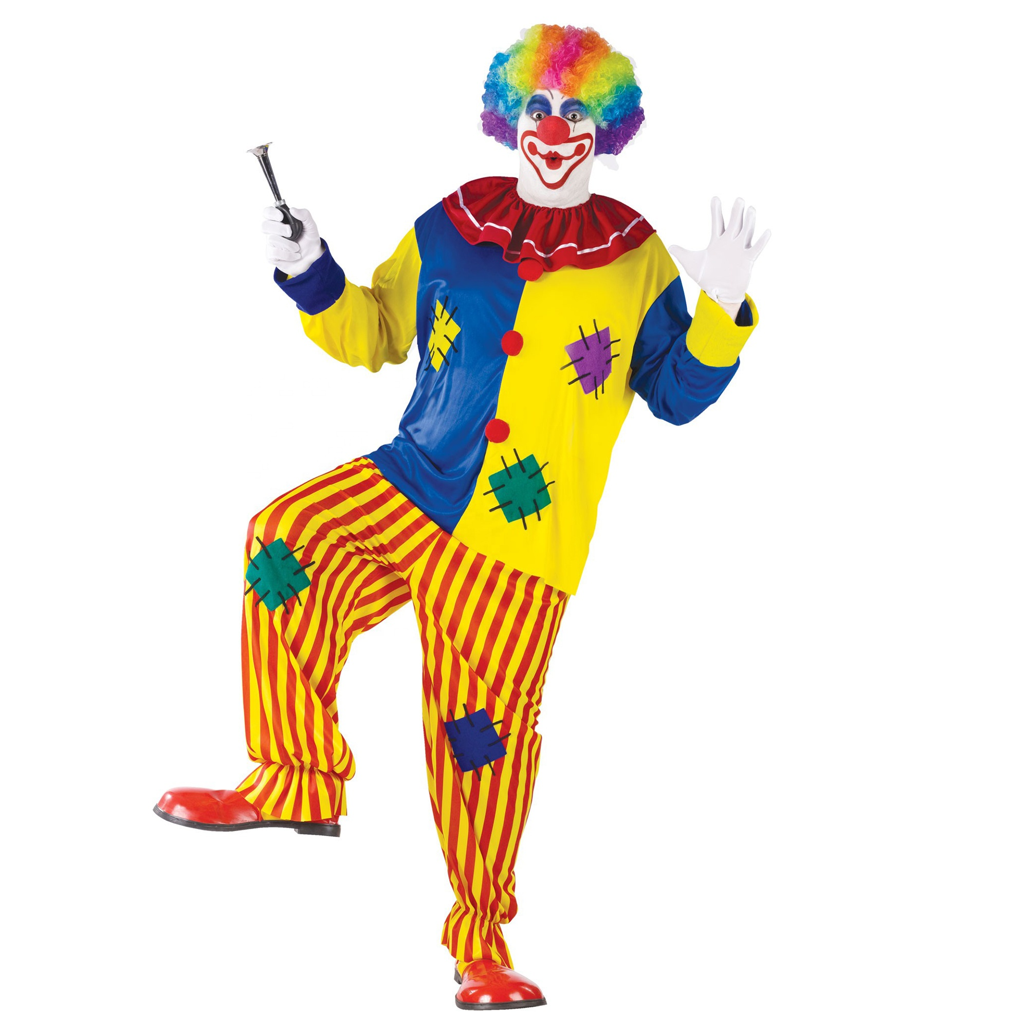 Volwassen Mens Big Top Clown Kostuum set voor Halloween Carnaval Party