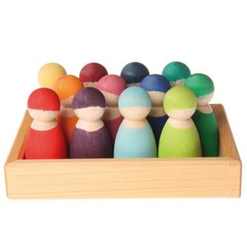 Goodkid Preschool Educational Toys Tray Package 12Pcs Rainbow Wooden Peg Dolls For Kids Role Playing