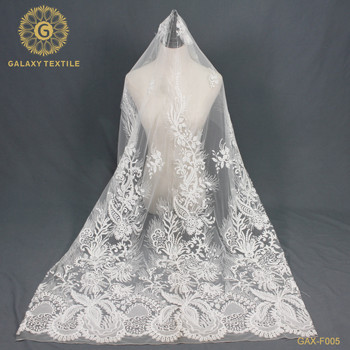 2019 Top-end Handmade embroidery beaded bridal lace fabric beaded sequined lace fabric wholesale