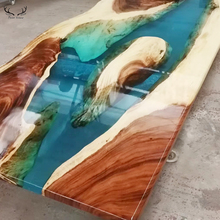 <span class=keywords><strong>Modern</strong></span> design epoxyhars eettafels top blauw transparant rivier hars rechthoekige hout epoxyhars tafel