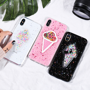 3D Dynamic Ice Cream girl Phone Case For iphone X Case Fashion Glitter powder Bling Back Cover Lovely Cases For iphoneX Capa