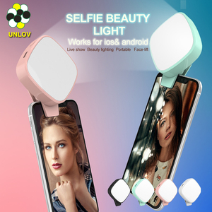 Amazon hot selling clip on Selfie Ring Light with LED light for Smart Phone Camera square Shape Rechargeable Battery