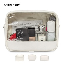 Custom Bedrukte Transparante <span class=keywords><strong>Make-Up</strong></span> Pu Pvc Zak Kleur Half Wit Clear Cosmetische <span class=keywords><strong>Tas</strong></span> Eva Travel Pouch Make Up Oem Waterdicht <span class=keywords><strong>tas</strong></span>