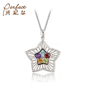 Sophisticated Handmade Multicolour Stone Fancy Pentagram Star 925 Sterling Silver Pendant