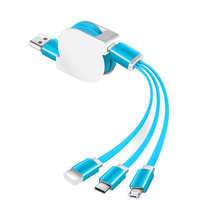 OEM logo usb cable fast speed charging cable 3 in1 usb retractable data cable for iphone