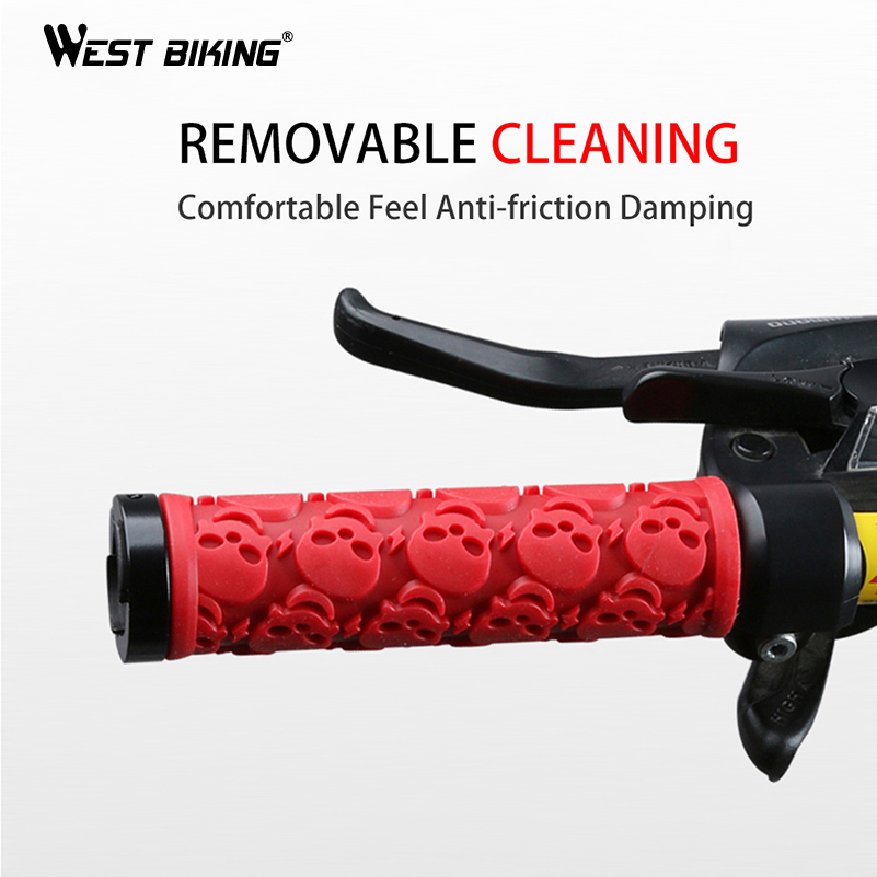 WEST BIKING Anti-Skid Skull Style Bicycle Grips Rubber Bike Grip Road Cycling Handle Grip Lockable Mountain Bike Handlebar Grips, Red blue black