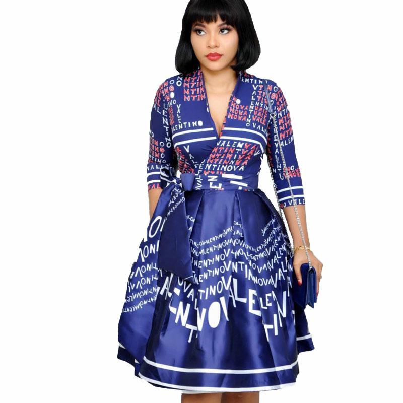 90428-MX10 Summer Elegant Turkey Letter Patterns V-neck Lady Dresses 2019 фото