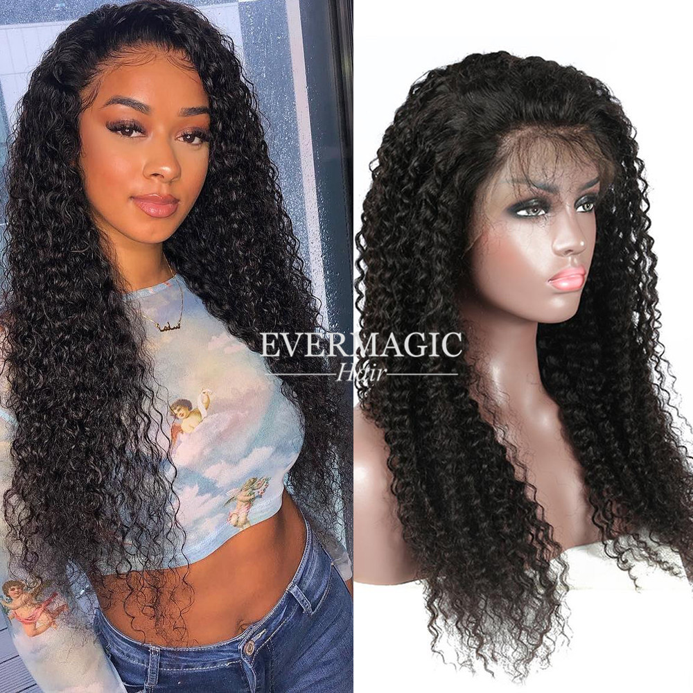 Full Lace Wig Human Hair With Baby Hair Kinky Curl Style Natural Color Lace Wig фото