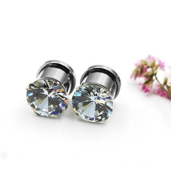 Clear Zircon Ear Plug Tunnel Stainless Steel 12mm Ear Tunnel Piercing